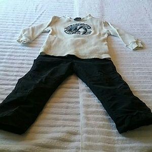 Boy's 2T Black Pull-on Pants & White Tee $15